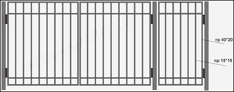 Ворота сварные ВКС №2.<br /><br /><br /><br /><br /> Производятся из профиля.<br /><br /><br /><br /><br /> Каркас выполнен – из профильной трубы с размерами 40х20 мм или 40х40 мм.<br /><br /><br /><br /><br /> Вертикальные и горизонтальные профильные трубы имеют размер 20х20 мм.<br /><br /><br /><br /><br /> Горизонтальные  профили  привариваются  сверху, с лицевой стороны ворот.