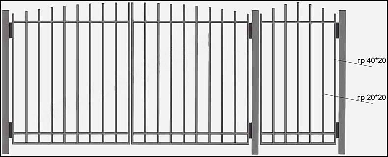 Ворота сварные ВКС №3.<br /><br /><br /><br /><br /> Производятся из профиля.<br /><br /><br /><br /><br /> Каркас выполнен – из профильной трубы с размерами 40х20 мм или 40х40 мм.<br /><br /><br /><br /><br /> Вертикальные и горизонтальные профильные трубы имеют размер 20х20 мм.<br /><br /><br /><br /><br /> Горизонтальные  профили  привариваются  сверху (внахлест), с лицевой стороны ворот