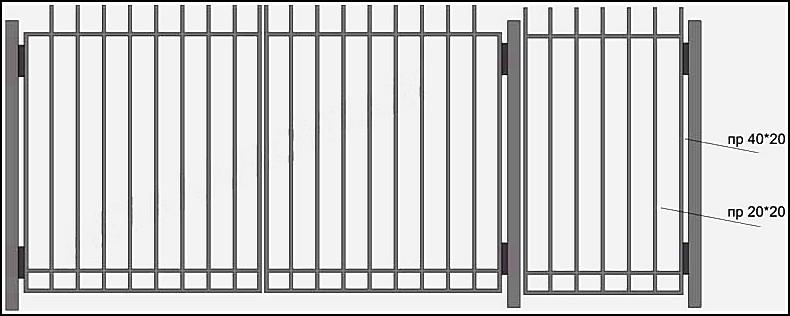 Ворота сварные ВКС №4.<br /><br /><br /><br /><br /> Производятся из профиля.<br /><br /><br /><br /><br /> Каркас выполнен – из профильной трубы с размерами 40х20 мм или 40х40 мм.<br /><br /><br /><br /><br /> Вертикальные и горизонтальные профильные трубы имеют размер 20х20 мм.<br /><br /><br /><br /><br /> Горизонтальные  профили  привариваются  сверху (внахлест), с лицевой стороны ворот