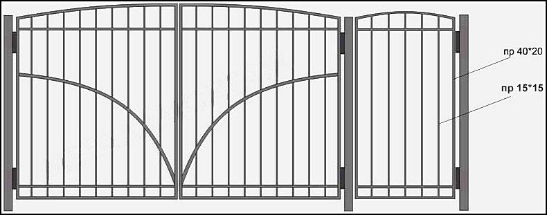 Ворота сварные ВКС №5.<br /><br /><br /><br /> Рама ворот изготовлена из профиля 40х20 мм.<br /><br /><br /><br /> Вертикально расположен квадратный пруток 12х12 мм.<br /><br /><br /><br /> Горизонтально приварена  металлическая полоса 30х4 мм (с наружной и внутренней стороны).<br /><br /><br /><br /> По желанию клиента, полосу, образующую рисунок, можно пустить по другому.