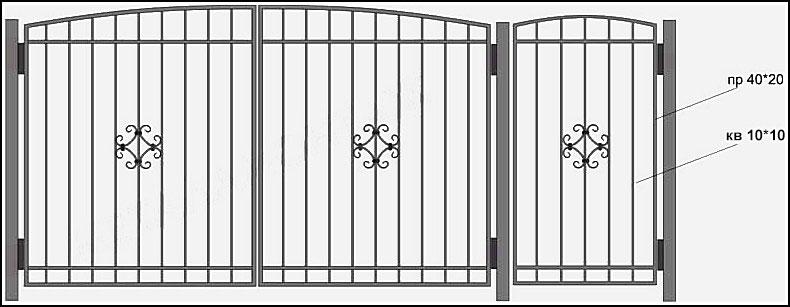 Ворота сварные ВКС №7.<br /><br /><br /><br /> Металлические ворота с кованными элементами. Этот тип ворот, также представлен в разделе кованные ворота.<br /><br /><br /><br /> Рама (каркас) –выполнена из профиля 40х20 мм.<br /><br /><br /><br /> Вертикальные пруты выполнены из прутка 12х12 мм.<br /><br /><br /><br /> По горизонтали пущена металлическая полоса 30х4 мм с обоих сторон.<br /><br /><br /><br /> В центре кованные ажурные элементы из 10 мм квадрта.