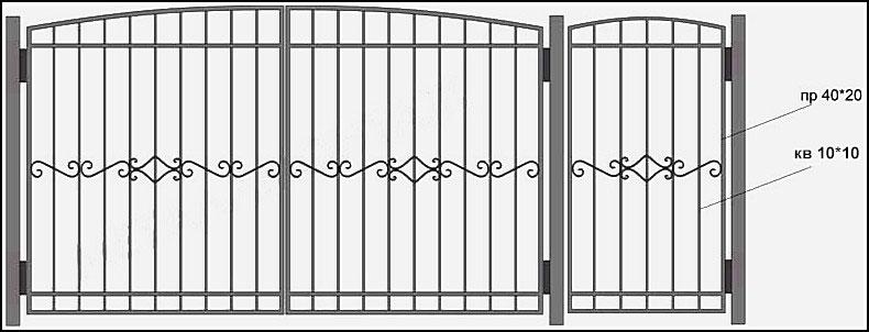Ворота сварные ВКС №8.<br /><br /><br /><br /> Металлические ворота с кованными элементами. Этот тип ворот, также представлен в разделе кованные ворота.<br /><br /><br /><br /> Рама (каркас) –выполнена из профиля 40х20 мм.<br /><br /><br /><br /> Вертикальные пруты выполнены из прутка 12х12 мм.<br /><br /><br /><br /> По горизонтали пущена металлическая полоса 30х4 мм с обоих сторон.<br /><br /><br /><br /> В центре кованные ажурные элементы из 10 мм квадрта.