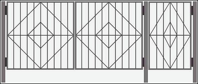 Ворота сварные ВКС №11.<br /><br /><br /> Калитка и ворота изготовлены из стального уголка 25х25х4 мм или по требованию клиента - 40х40х4 мм.<br /><br /><br /> Внутреннее наполнение выполняется круглым прутком диаметром 10 мм или квадратным, с размерами 10 на 10 мм.<br /><br /><br /> Столбы ворот возможно изготовить из круглой трубы диаметром 57 мм или квадратной 50 на 50 мм или 60х60 мм.