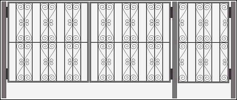 Ворота сварные ВКС №10.<br /><br /><br /> Калитка и ворота изготовлены из стального уголка 25х25х4 мм или по требованию клиента - 40х40х4 мм.<br /><br /><br /> Ажурные элементы выполняются из металлической полосы 2х20 мм.<br /><br /><br /> Внутреннее наполнение выполняется круглым прутком диаметром 10 мм или квадратным, с размерами 10 на 10 мм.<br /><br /><br /> Столбы ворот возможно изготовить из круглой трубы диаметром 57 мм или квадратной 50 на 50 мм или 60х60 мм.