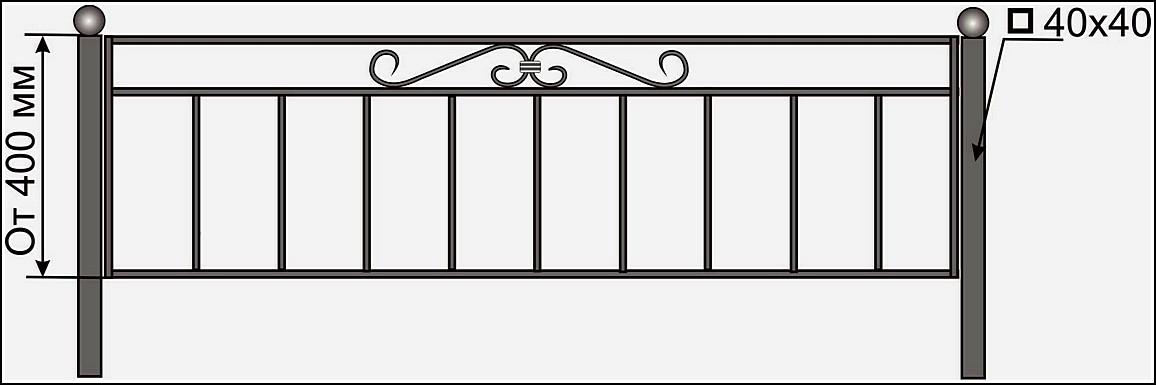 Кованая ограда ОК №2