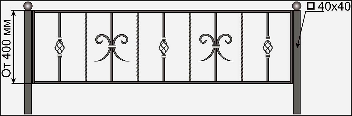 Кованая ограда ОК №4