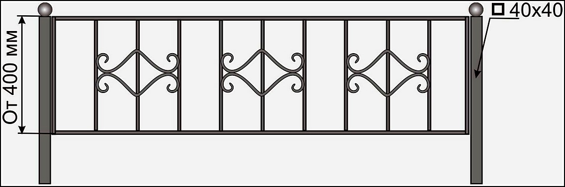 Кованая ограда ОК №6