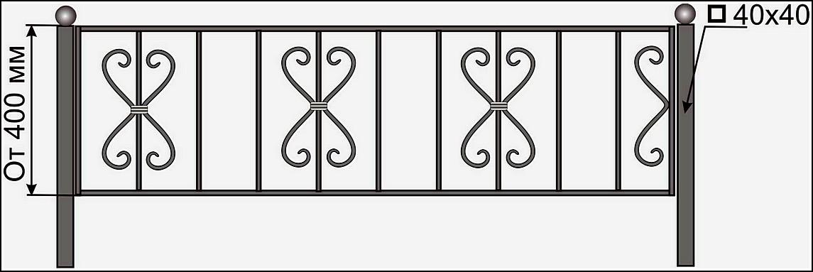Кованая ограда ОК №8