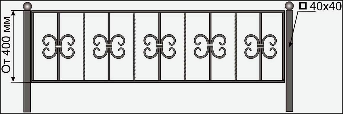 Ограда кованая ОК №9