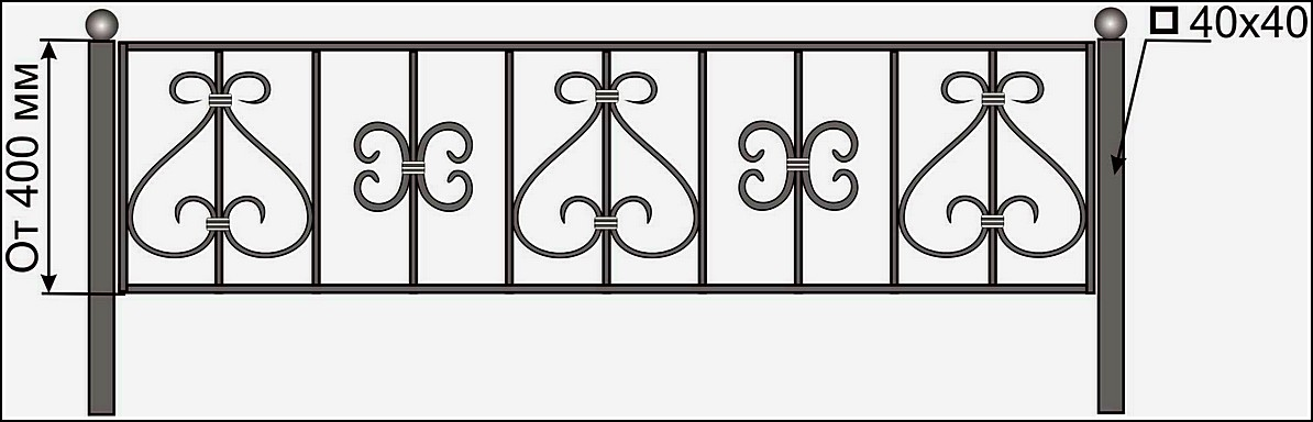 Кованая ограда ОК №10