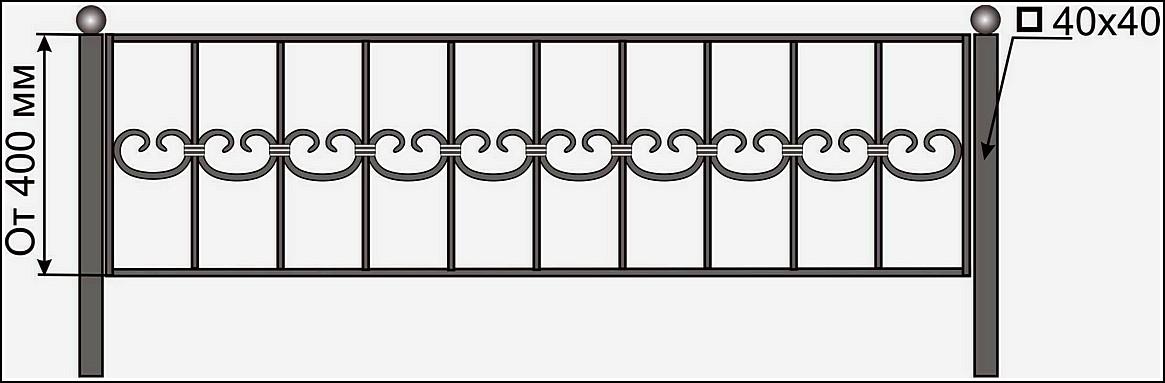 Ограда кованая ОК №11