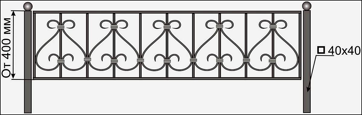 Кованая ограда ОК №12