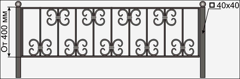 Кованая ограда ОК №14