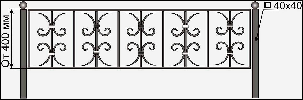 Кованая ограда ОК №16
