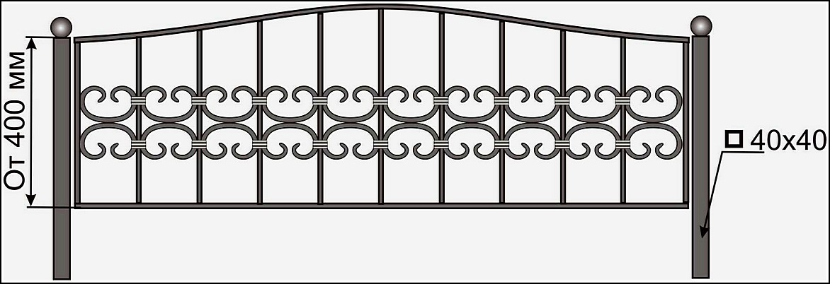 Кованая ограда ОК №20