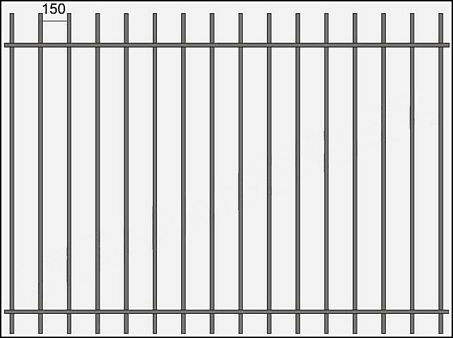 Сварной металлический забор ЗСВ №3. <br />Заполнение забора: по вертикали – профиль 15х15 (можно заменить на цельнометаллический квадрат 10 или 12 мм., или профиль 20*20 мм.)<br />Верхняя и нижние горизонтали – полоса 20*4 мм с двух сторон.
