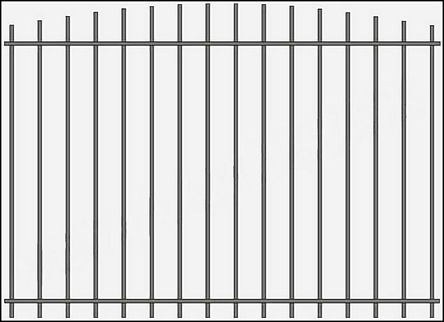 Металлический забор сварной ЗСВ №4. <br />Заполнение забора: по вертикали – профиль 15х15 (можно заменить на цельнометаллический квадрат 10 или 12 мм., или профиль 20*20 мм.)<br />Верхняя и нижние горизонтали – полоса 20*4 мм с двух сторон.