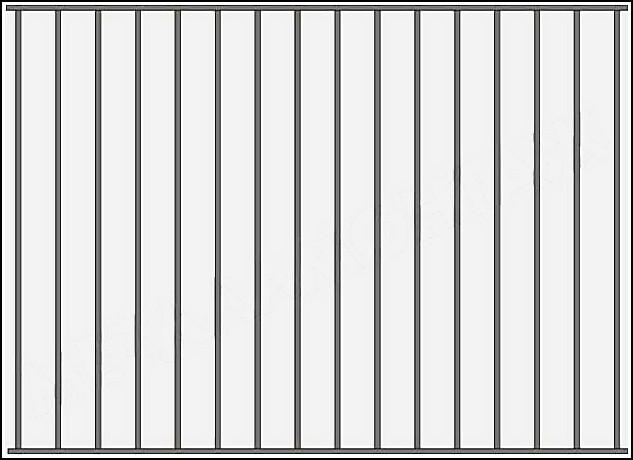 Забор сварной ЗСВ №1.<br />Заполнение забора: по вертикали – профиль 15х15 (можно заменить на цельнометаллический квадрат 10 или 12 мм., или профиль 20*20 мм.)<br />Верхняя и нижние горизонтали – профиль 15х15 мм.