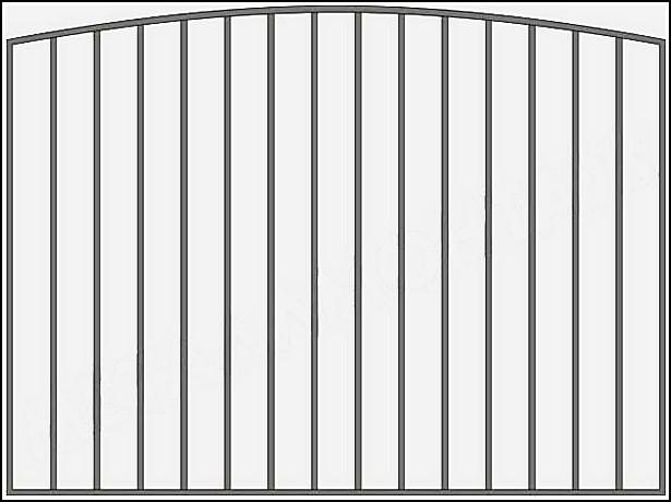 Забор сварной металлический ЗСВ №2.<br />Заполнение забора: по вертикали – профиль 15х15 (можно заменить на цельнометаллический квадрат 10 или 12 мм., или профиль 20*20 мм.)<br />Верхняя и нижние горизонтали – профиль 15х15 мм.