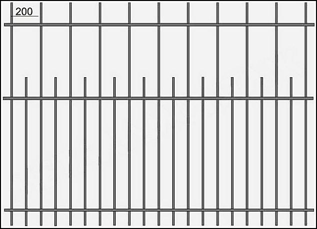 Забор стальной сварной ЗСВ №7. <br />Заполнение забора: по вертикали – профиль 15х15 мм.<br />Верхняя и нижние горизонтали – полоса 20х4 мм., с двух сторон.