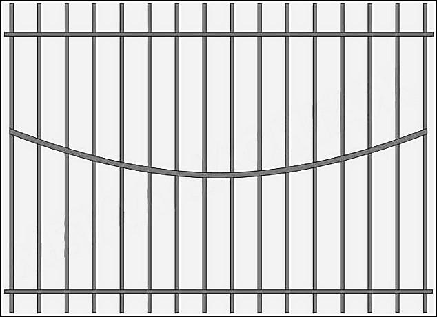 Сварной железный забор ЗСВ №8.<br />Заполнение забора: по вертикали – профиль 15х15 мм.<br />Горизонтали (дуга по середине) – профиль 15х15 мм., с одной стороны.<br />Горизонтали (сверху и снизу) - металлическая полоса 20х4 мм. (с двух сторон).