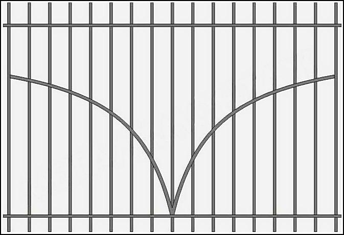 Железный забор сварной ЗСВ №9.<br />Заполнение забора: по вертикали – профиль 15х15 мм.<br />Горизонтали (дуги по середине) – профиль 15х15 мм., с одной стороны.<br />Горизонтали (верх, низ) - полоса 20х4 мм., с двух сторон.