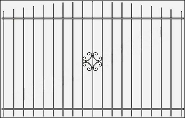 Металлический забор сварной ЗСВ №11.<br />Самый недорогой металлический забор с элементами ковки. <br />Заполнение забора: по вертикали – профиль 15х15 мм.<br />Горизонтали – полоса 20х4 мм., с двух сторон.<br />Кованые элементы с одной стороны.