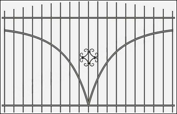 Сварной металлический забор с элементами ковки ЗСВ №12.<br />Заполнение забора: по вертикали – профиль 15х15 мм.<br />Горизонтали (дуги по середине) – профиль 15х15 мм. с двух сторон.<br />Горизонтали (верх, низ) - полоса 20х4 мм., с двух сторон<br />Кованые элементы с одной стороны.