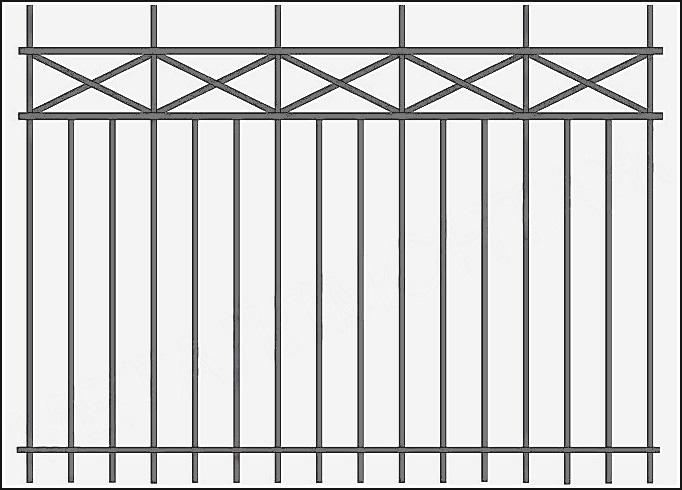 Металлические сварной забор ЗСВ №5. <br />Заполнение забора: по вертикали – профиль 15х15 (можно заменить на цельнометаллический квадрат 10 или 12 мм., или профиль 20*20 мм.)<br />Нижние горизонтали – полоса 20*4 мм., с двух сторон.<br />Верхние горизонтали - профиль 15х15 мм.