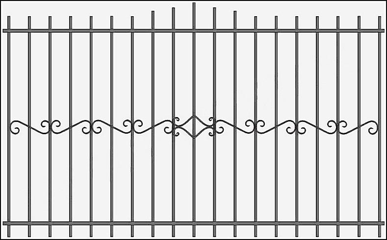 Забор сварной с ковкой ЗСВ №13.<br />Заполнение забора: по вертикали – профиль 15х15 мм.<br />Горизонтали – полосы 20х4 мм., с двух сторон.<br />Кованые элементы с одной стороны.