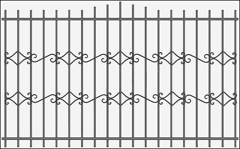 Забор сварной с ковкой ЗСВ №14.<br />Заполнение забора: по вертикали – профиль 15х15 мм.<br />Горизонтали – полоса 20х4 мм. с двух сторон.<br />Кованые элементы с одной стороны.