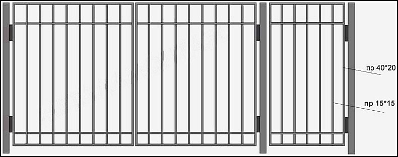Ворота сварные эконом класса ВКС №1. <br />Ворота изготавливаются из профиля, каркас ворот выполнен из профильной трубы 40 на 20 мм.<br />Вертикальные профили имеют размер 15 на 15 мм. <br />Горизонтально пущены металлические полосы 20х4 мм., вверху и внизу конструкции, привариваются сверху (внакладку) с внешней стороны ворот.