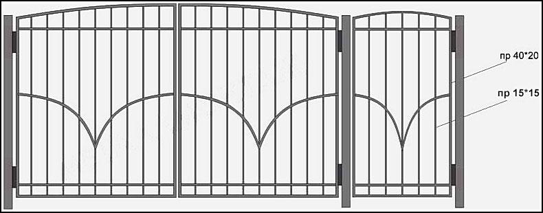 Ворота сварные ВКС №6. <br />Производятся из профиля. <br />Каркас выполнен – из профильной трубы с размерами 40х20 мм. <br />Вертикальные профильные трубы имеют размер 15х15 мм. <br />Горизонтально пущены металлические полосы 20х4 мм., вверху и внизу конструкции, привариваются сверху (внахест) с внешней стороны ворот.