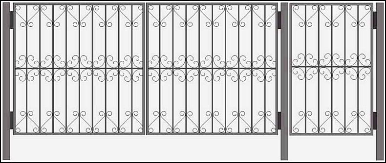 Ворота сварные ВКС №9. <br />Рама (каркас) – выполнена из уголка 25*25*4 мм.<br />Вертикальные пруты выполнены из квадратного или круглого прутка 10х10 мм.<br />Ажуры выполнены – из полосы 20х2 мм.